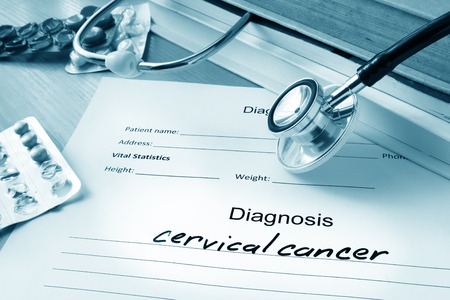 cancer: Diagnostic form with cervical cancer.