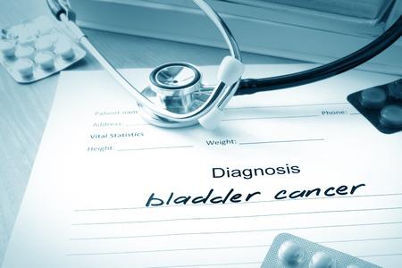 Diagnostic form with bladder cancer.