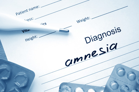 amnesia: Diagnostic form with diagnosis Amnesia and pills.