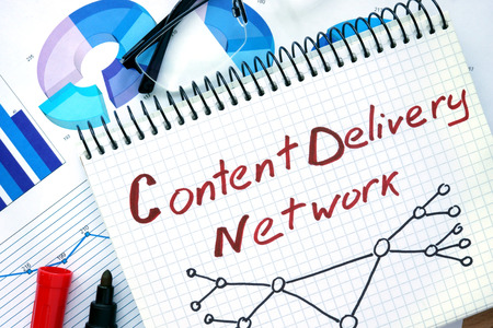 content: Notepad with words Cdn Content Delivery Network.