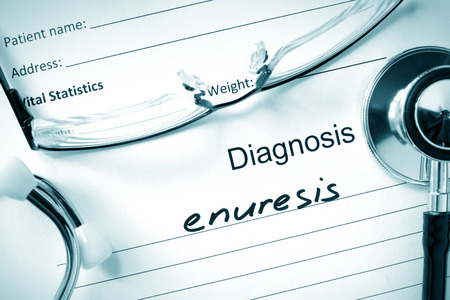 incontinence: Diagnostic form with diagnosis Enuresis and pills.