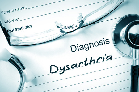diagnosis: Diagnosis Dysarthria and tablets.
