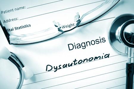autonomic: Diagnosis Dysautonomia and tablets. Stock Photo