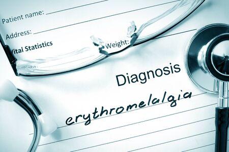 neuralgia: Diagnostic form with diagnosis Erythromelalgia and pills. Stock Photo