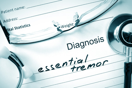 benign: Diagnostic form with diagnosis Essential tremor and pills.