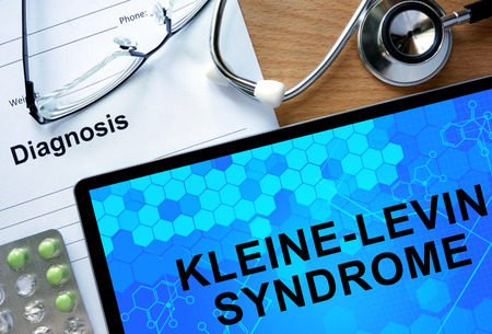 Diagnostic form with diagnosis Kleine-Levin Syndrome and pills. Stock fotó