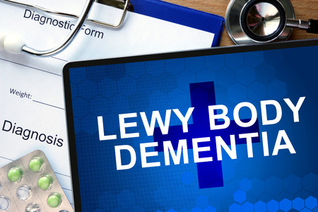 Diagnostic form with diagnosis Lewy body dementia and pills.