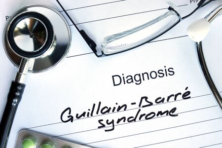 paralysis: Diagnostic form with diagnosis Guillain-Barre syndrome and pills.