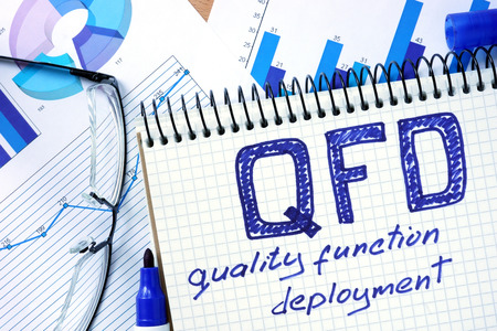 deployment: Notepad with QFD - Quality Function Deployment on office wooden table. Stock Photo