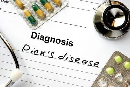 picks: Diagnosis Picks disease, pills and stethoscope.
