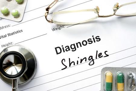 shingles: Diagnosis Shingles, pills and stethoscope. Stock Photo