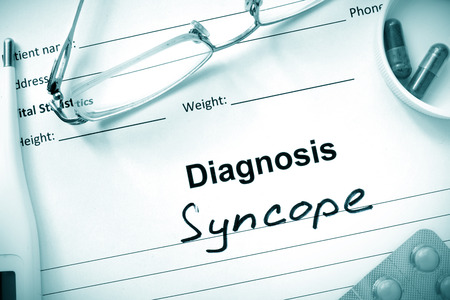ailing: Diagnosis Syncope, pills and stethoscope.