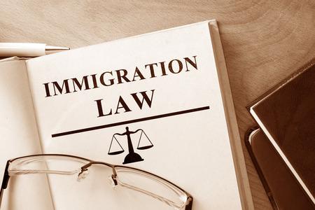 abogado: Reserve con las palabras de Derecho y gafas de Inmigración.