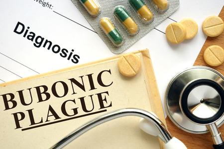 plague: Word Bubonic plague. Medical concept.
