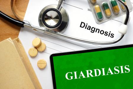 protozoan: Word Giardiasis. Medical concept.