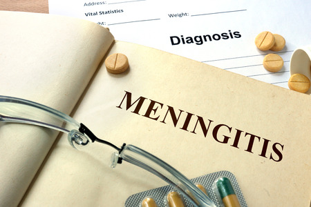 ailing: Word Meningitis. Medical concept. Stock Photo