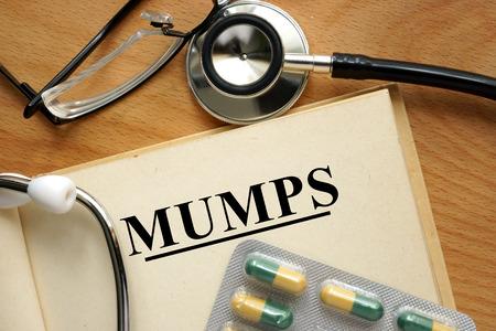 mumps: Word Mumps. Medical concept. Stock Photo