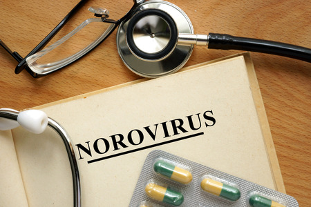 norovirus: Word Norovirus. Medical concept.
