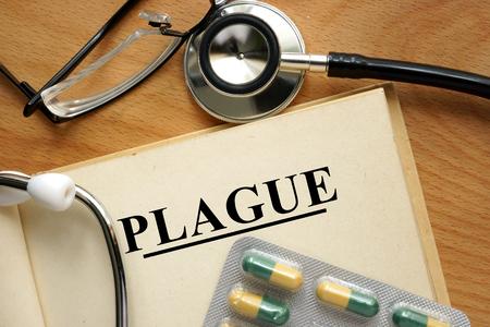 plaga: Palabra Plaga. Concepto m�dico. Foto de archivo