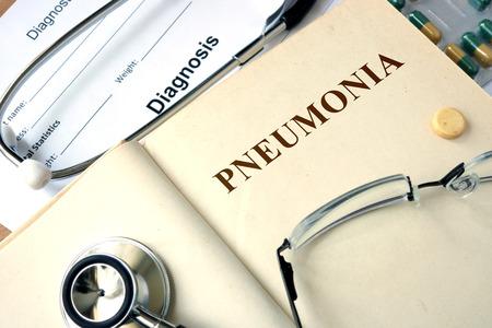 pneumonia: Word Pneumonia. Medical concept.