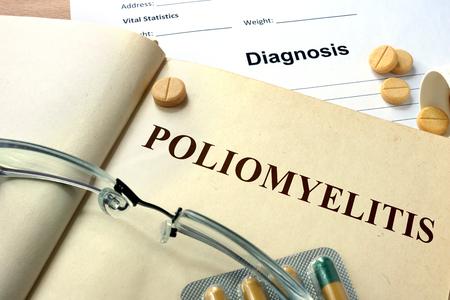 infantile: Word Poliomyelitis. Medical concept.