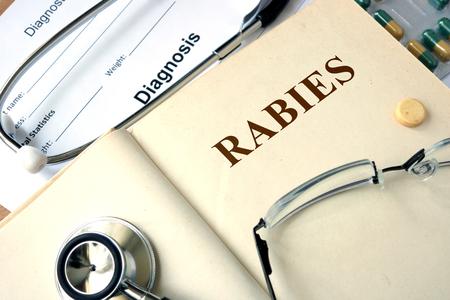 rabies: Word Rabies. Medical concept.