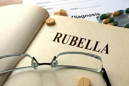 rubella: Word Rubella. Medical concept.