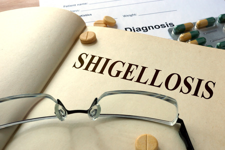 ailing: Word Shigellosis. Medical concept.