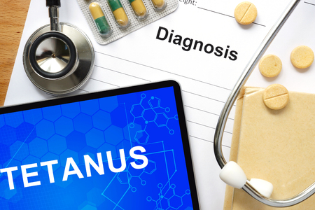 tetanus: Word Tetanus. Medical concept.