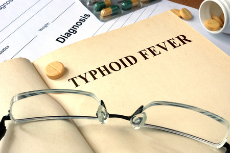 enteric: Word Typhoid Fever. Medical concept. Stock Photo