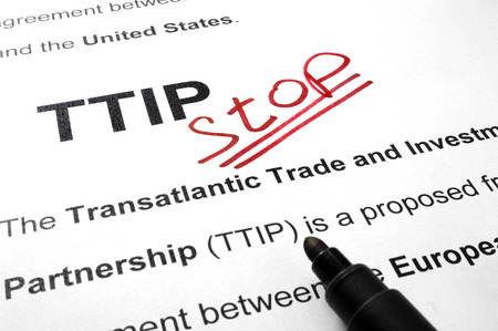 lobbyists: Words TTIP stop on a paper and marker.