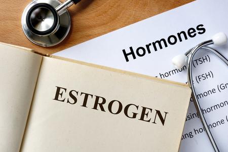 hormones: Estrogen word written on the book and hormones list. Stock Photo