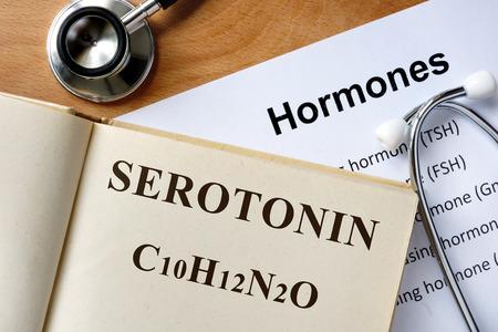 Serotonin word written on the book and hormones list.