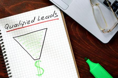 Gekwalificeerde leads concept op een papier met een notebook. Stockfoto