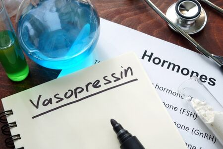 hormone: Hormone vasopressin written on notebook.