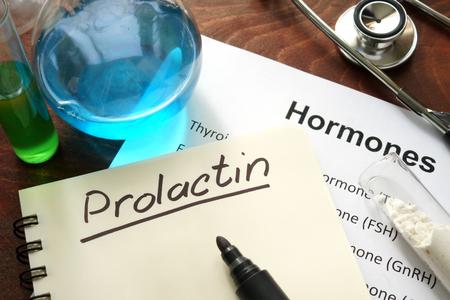 hormone: Hormone prolactin written on notebook. Stock Photo