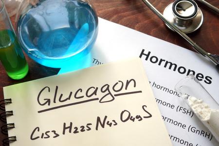 glucagon: Hormone glucagon written on notebook.