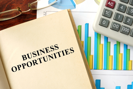 franchises: Words business opportunities written on a book. Business concept.