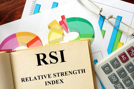 relative: Words Relative Strength Index - RSI written on a book. Business concept.