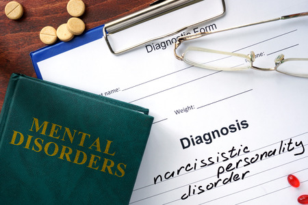 narcissistic: Narcissistic personality disorder  concept. Diagnostic form and book on a table.