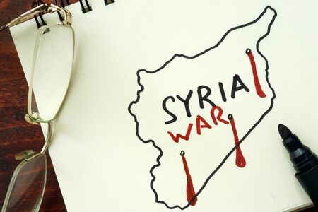 war refugee: Hand-drawn Syrian map with words Syria and war.