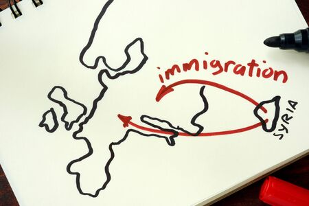 emigranti: Syrian crisis emigrants. Hand-drawn way of the Syrian Migrants Refugees to Europe