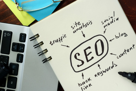 Words SEO search engine optimization written in the notepad.