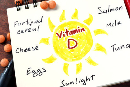 vitamina a: Bloc de notas con la vitamina D y las píldoras en la mesa.