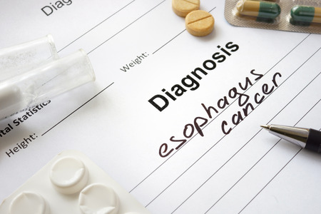 esophagus: Diagnosis esophagus cancer written in the diagnostic form and pills. Stock Photo