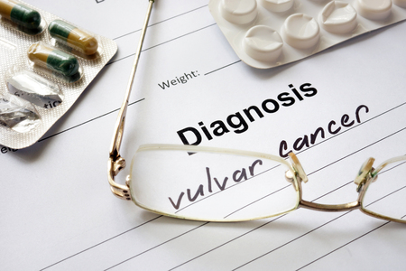 neoplasia: Diagnosis vulvar cancer written in the diagnostic form and pills.