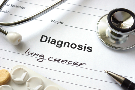 malignant: Diagnosis lung cancer written in the diagnostic form and pills. Stock Photo