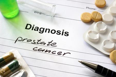 Cancer de la prostate Diagnostic écrite sous la forme de diagnostic et de pilules. Banque d'images