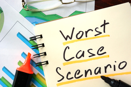 the worst: Worst case scenario  concept. Notepad on the table.