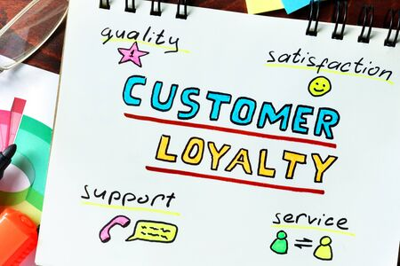 selling service: Customer Loyalty  concept. Notepad on the table. Stock Photo